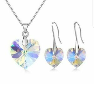 Crystal Heart And Earring Set